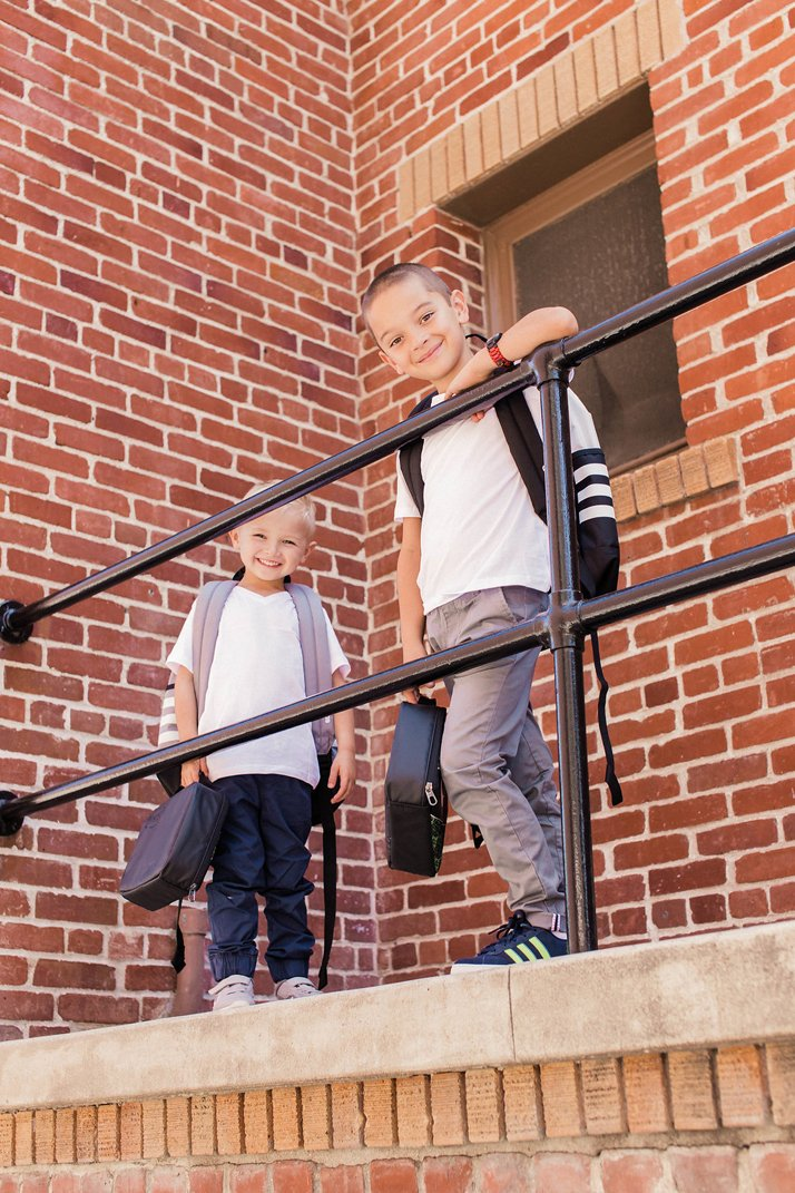 Little boys off to school with Adidas Backpacks from Rack Room Shoes