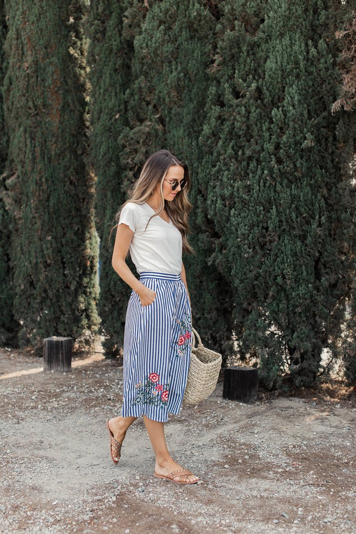 try a skirt, tee, and sandals for an easy day date look