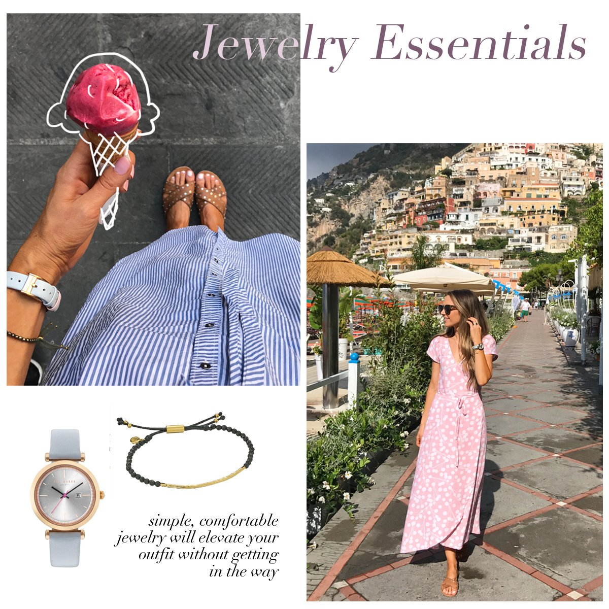 delicate jewelry and a comfortable watch are the best for traveling | merricksart.com