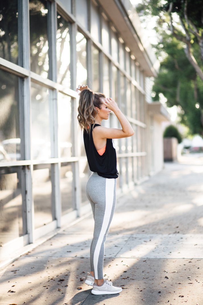 A muscle tank and leggings makes the perfect running outfit