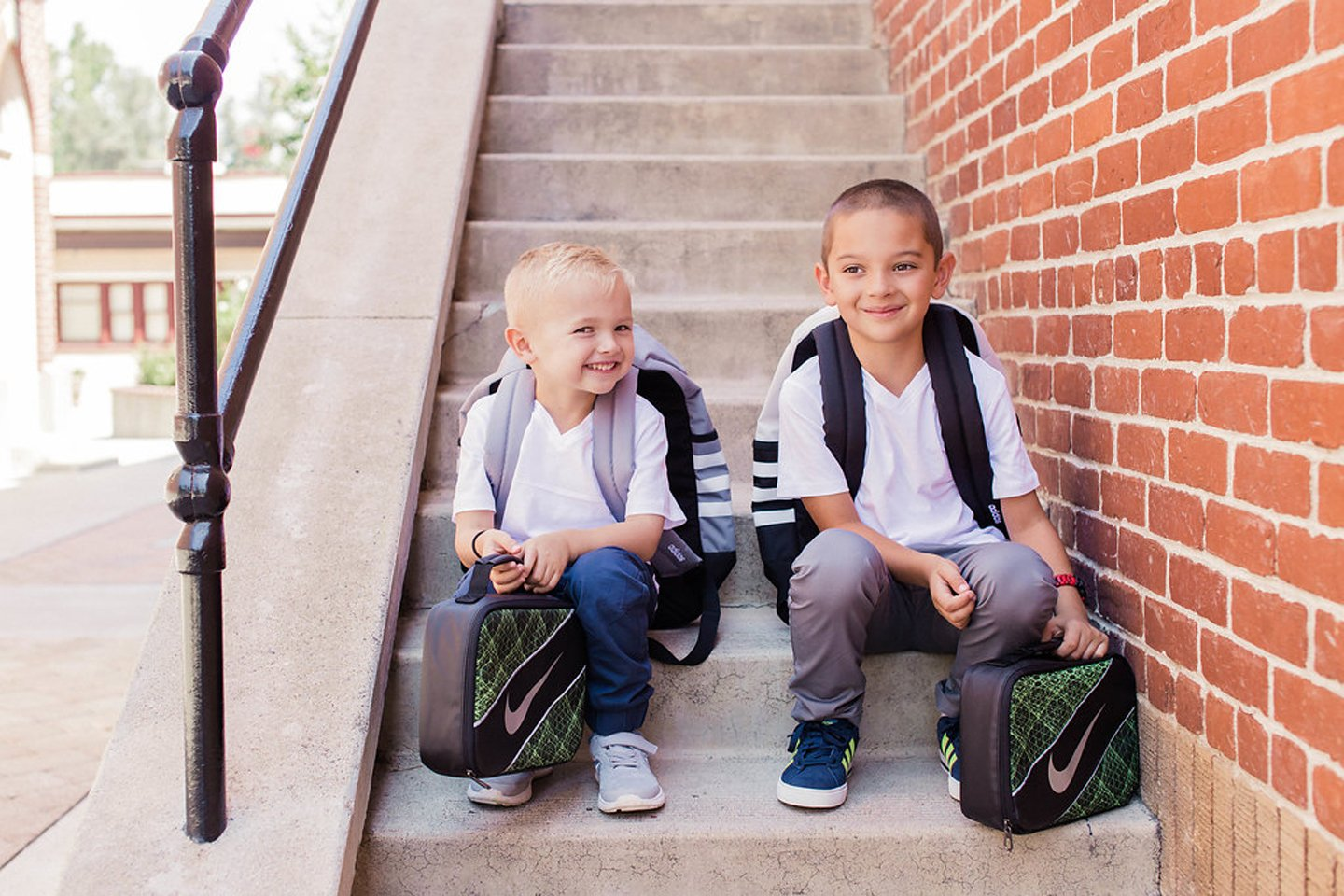 Little Boys ready for school in Adidas and Nike Sneakers