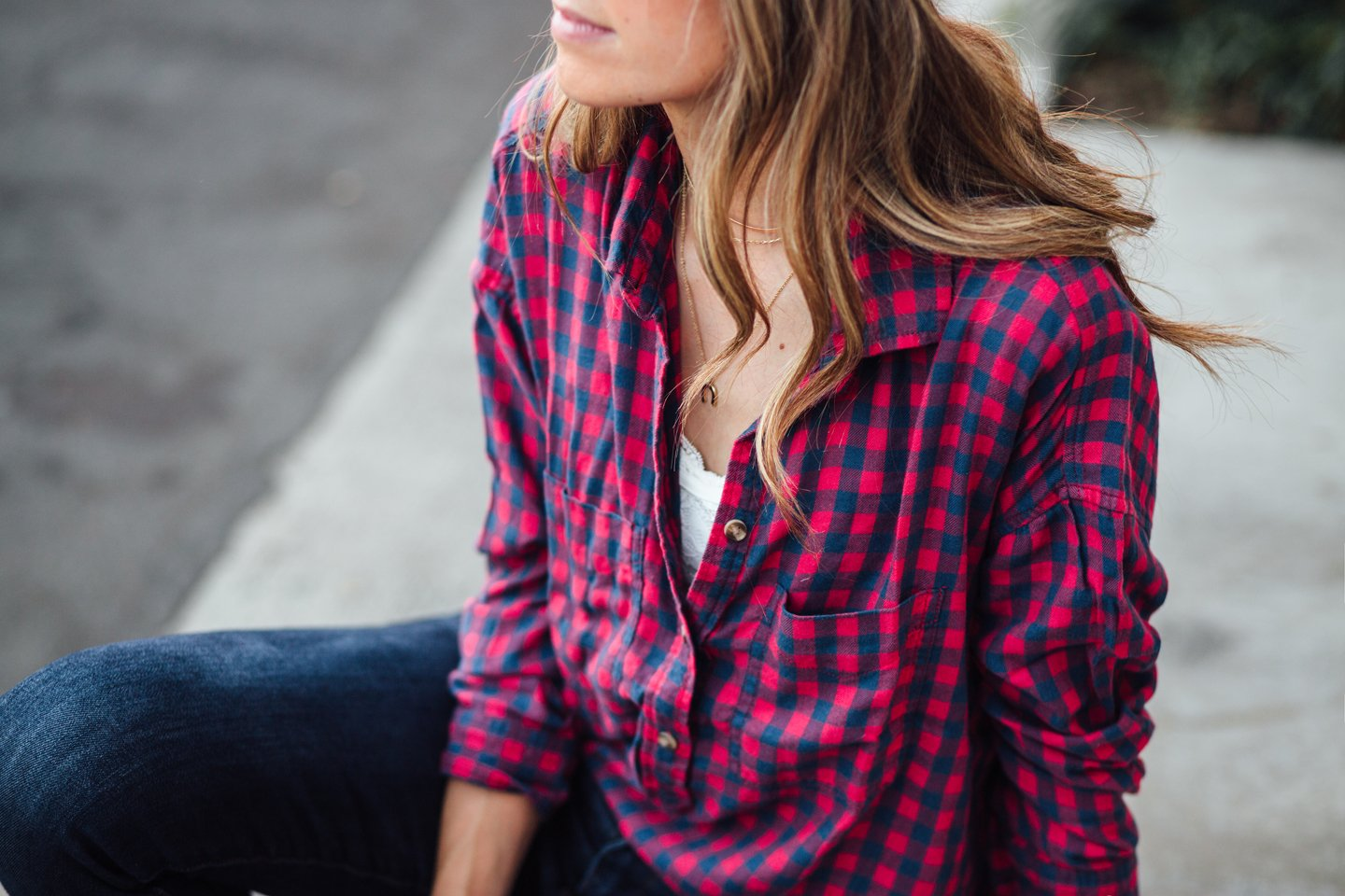 Add a peek of lace under your masculine plaid shirt with a pretty, feminine bralette from Aerie