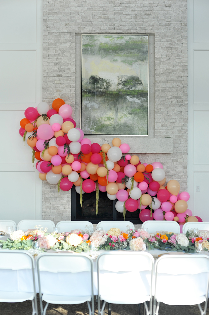 merricksart.com pink and orange balloon arch