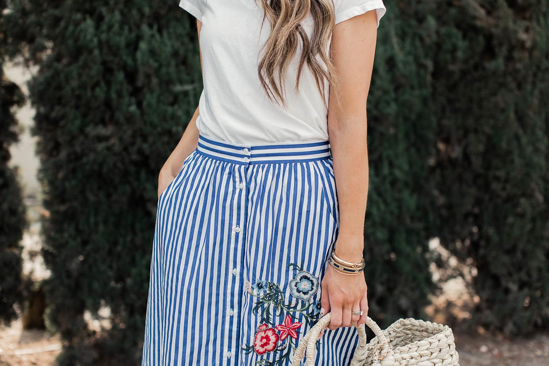 merricksart.com striped knee length skirt