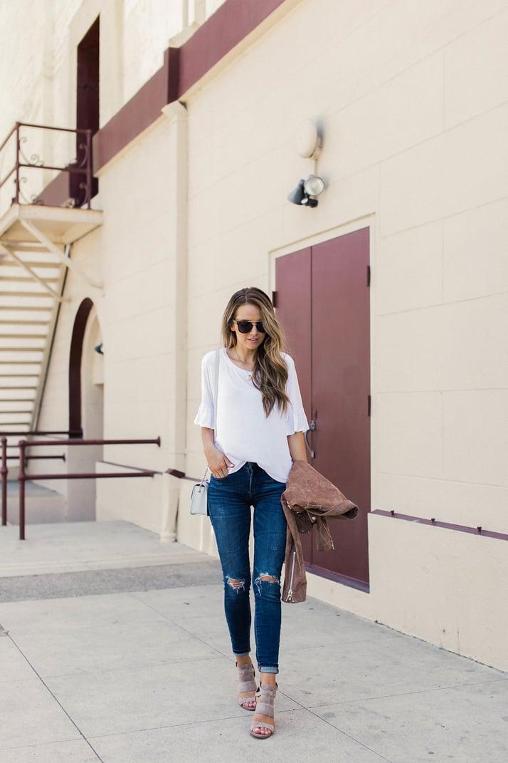 merricksart.com white tee and blanknyc jeans