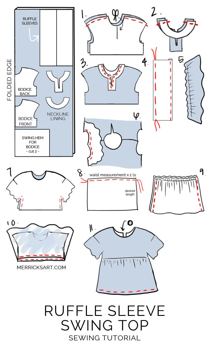 How to make a ruffle sleeve swing dress | merricksart.com