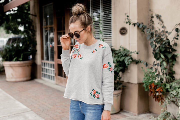 the perfect embroidered sweatshirt