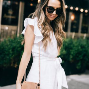 the perfect white linen dress with ruffle sleeves and a tie waist