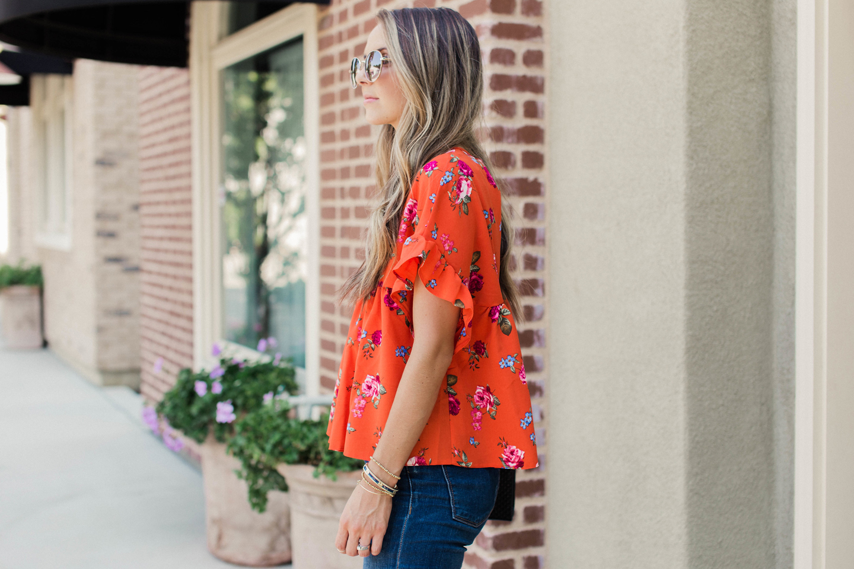 merricksart red ruffle sleeve blouse for fall