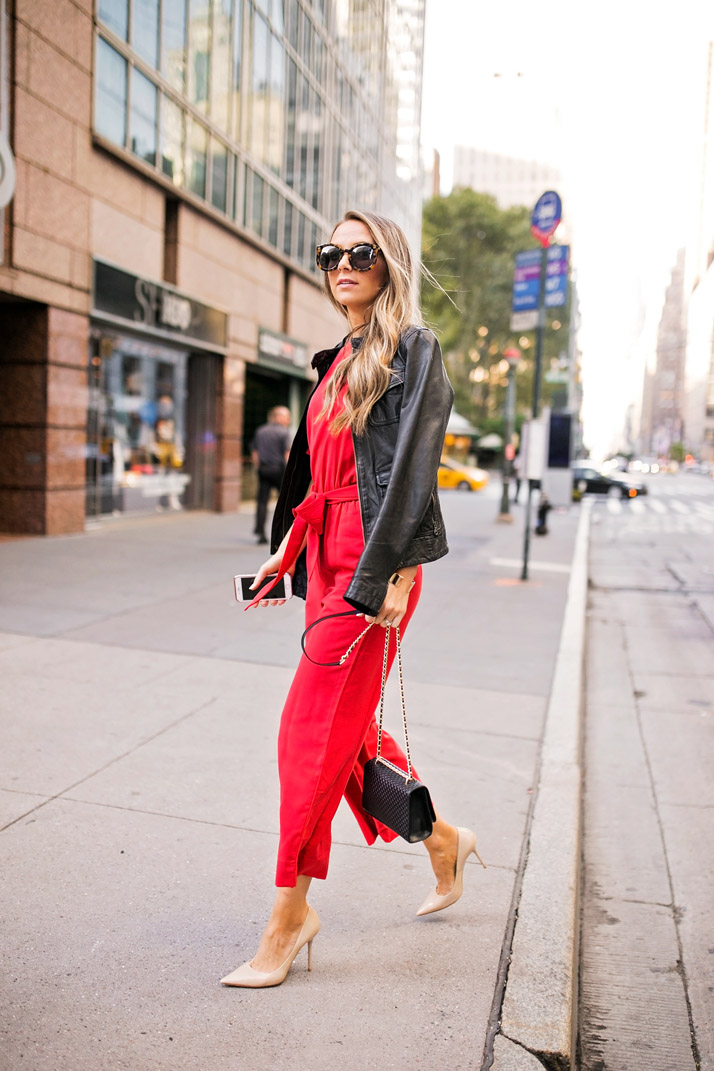 bold red jumpsuit from h&m