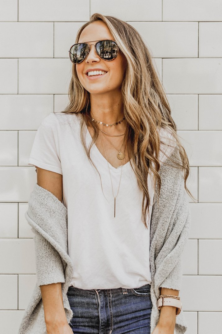 gold layered necklaces to dress up any basic outfit