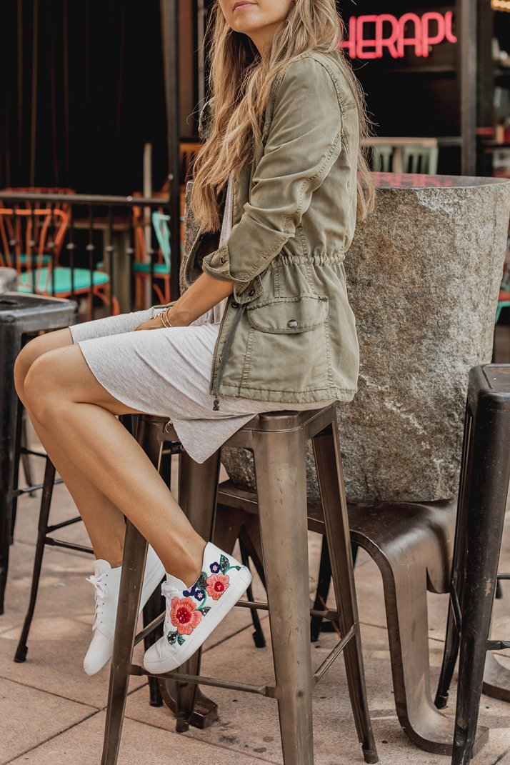 embroidered sneakers add a pop of fun to any simple outfit