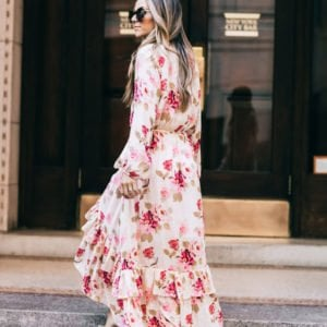 floral dress with a train