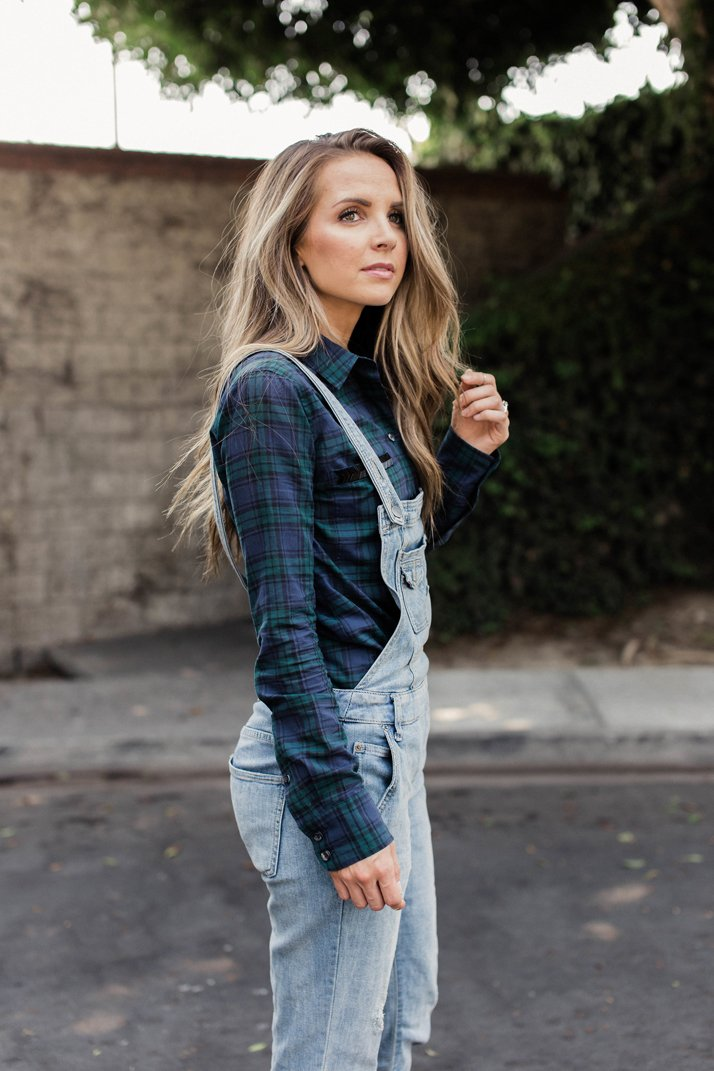 this dark j.crew plaid top pairs perfectly with overalls for fall
