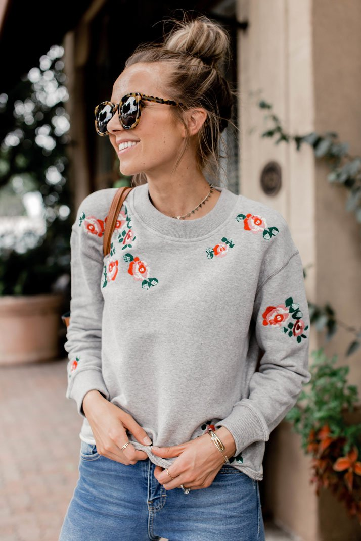 the perfect embroidered sweatshirt for fall