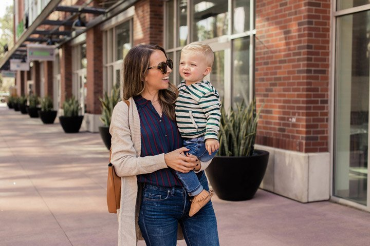 easy mom style and the cutest toddler hoodie that's perfect for layering or not
