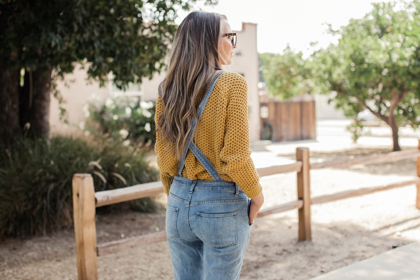 Free people overalls with forever 21 mustard yellow cable knit sweater