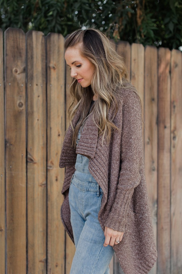 pair your overalls with a chunky cardigan for fall