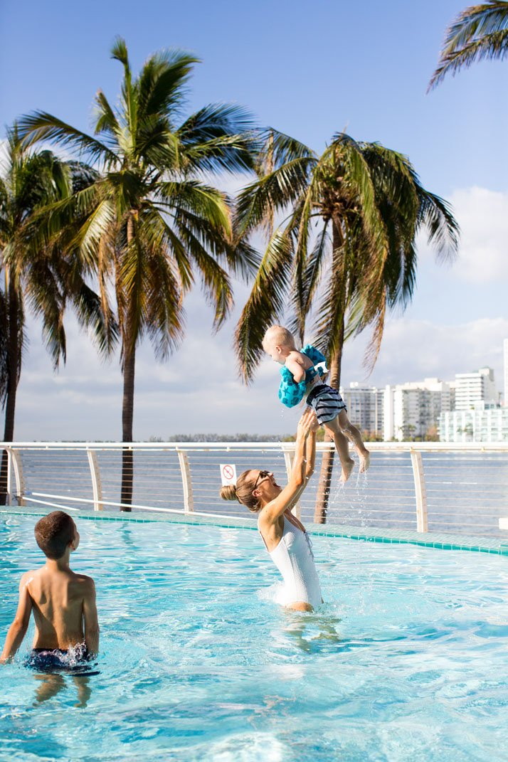 flying baby at the mandarin oriental, miami pool