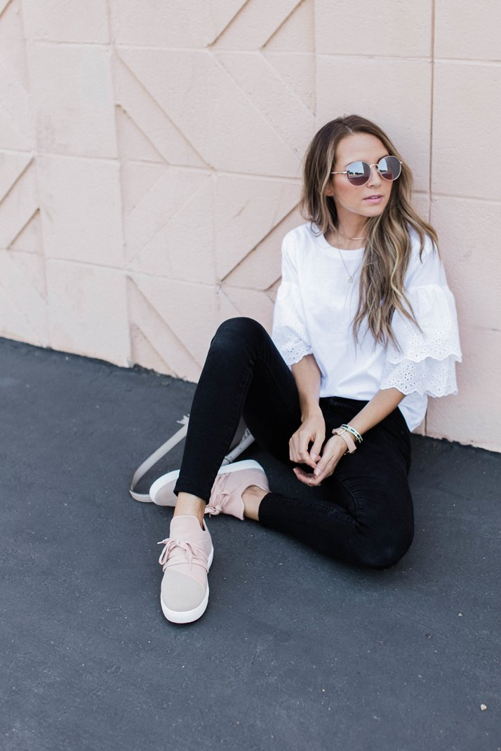 blush black and white casual outfit