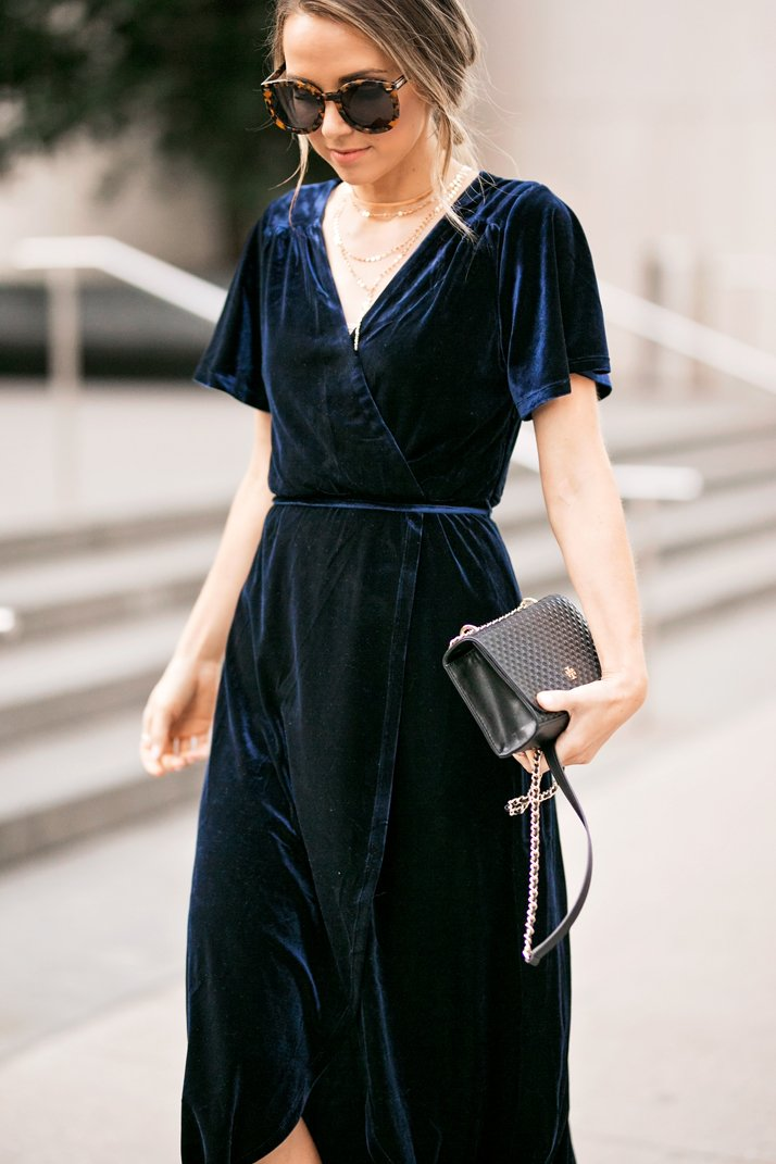 blue velvet cocktail dress
