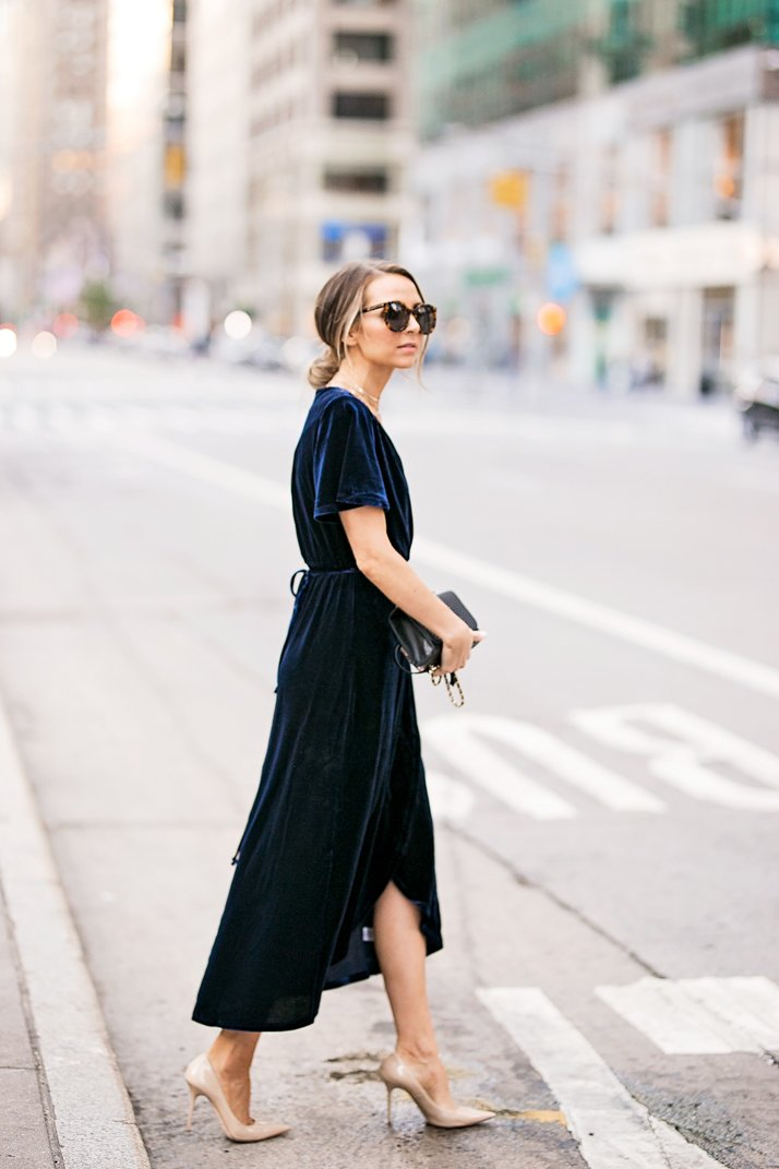 a navy blue velvet cocktail dress