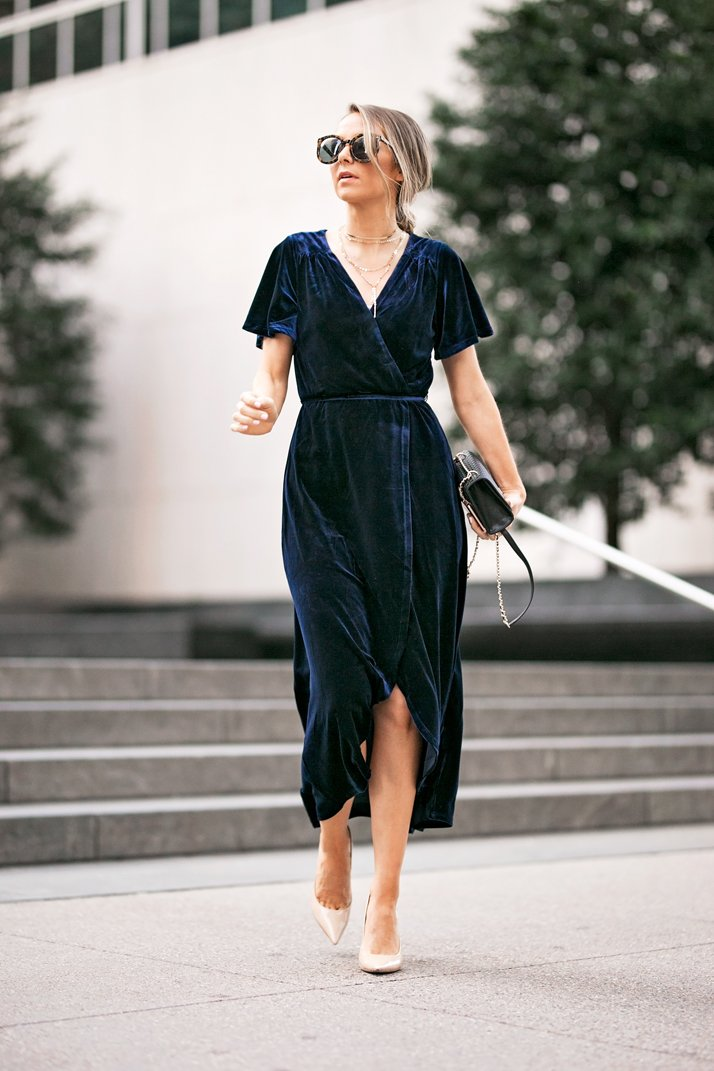 navy velvet wrap dress