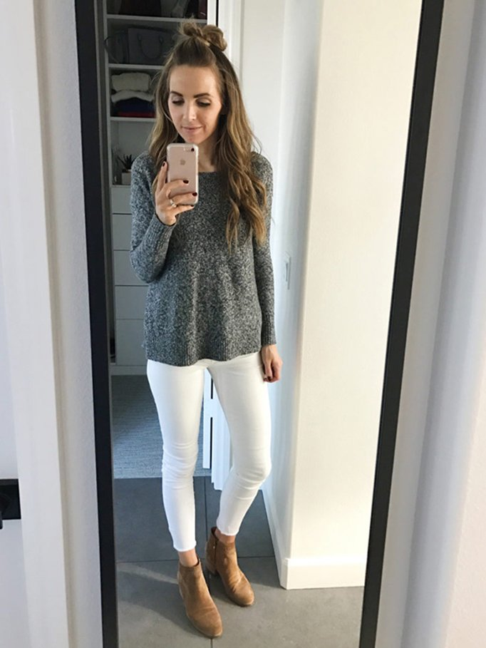 white jeans and gray sweater | merricksart.com