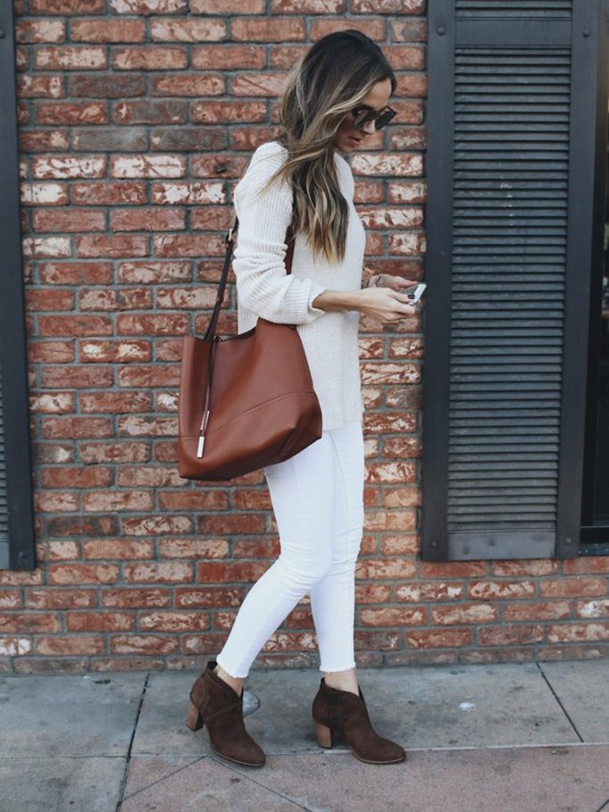white on white with brown booties | merricksart.com