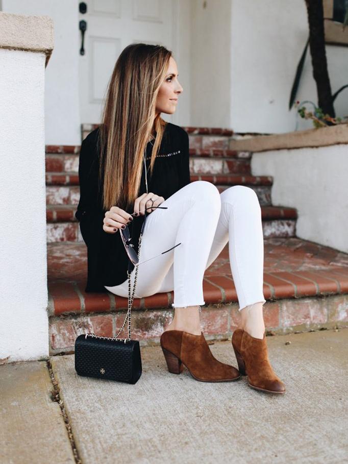 white jeans and black sweater | merricksart.com