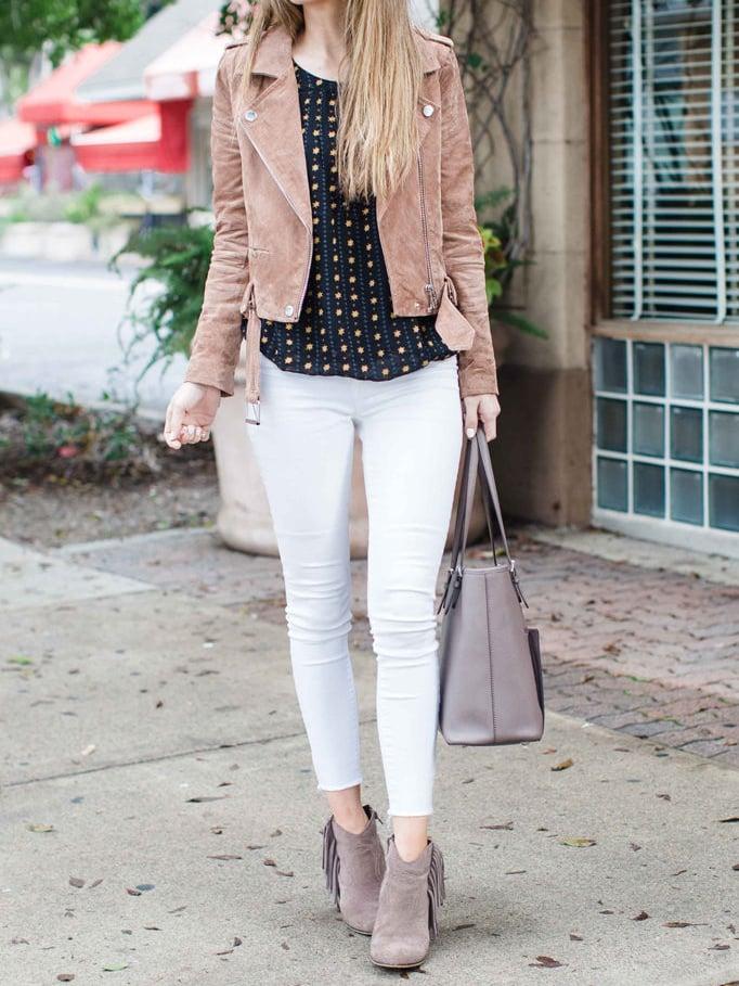 white jeans and suede jacket | merricksart.com