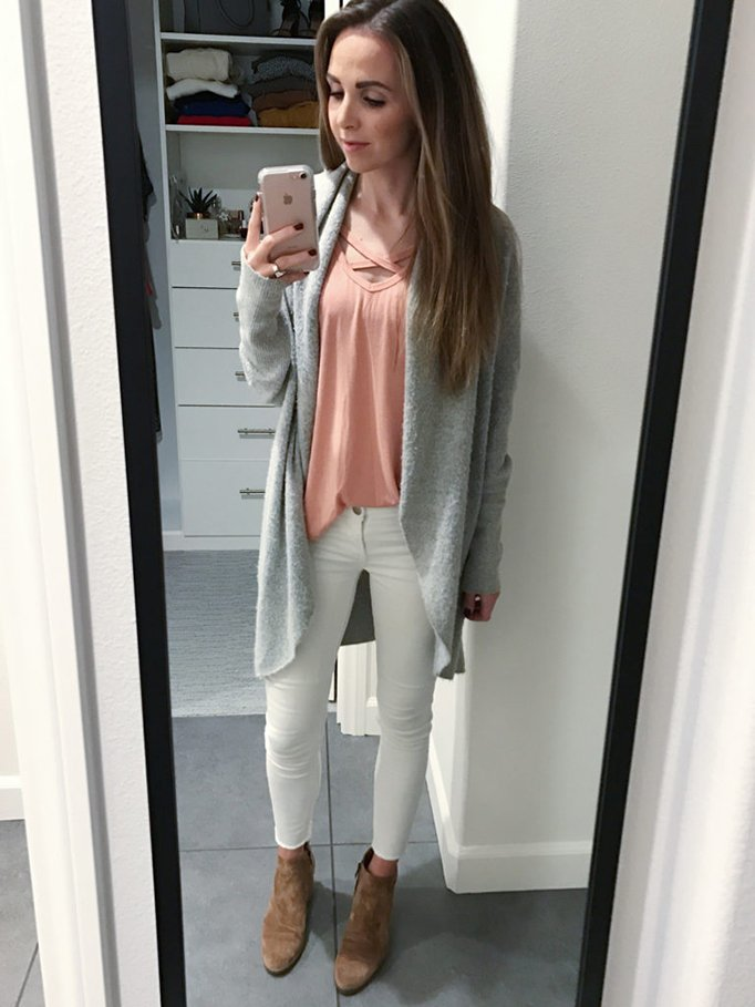 white jeans and gray cardigan | merricskart.com