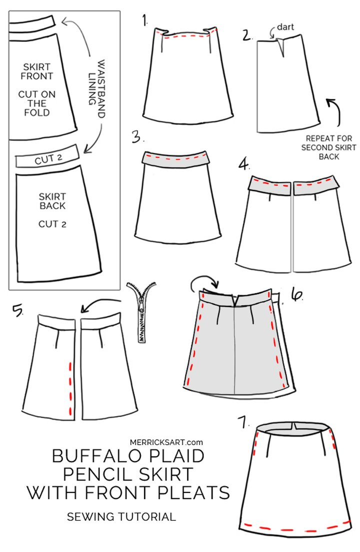 step by step instructions for an easy flannel pencil skirt for fall and winter