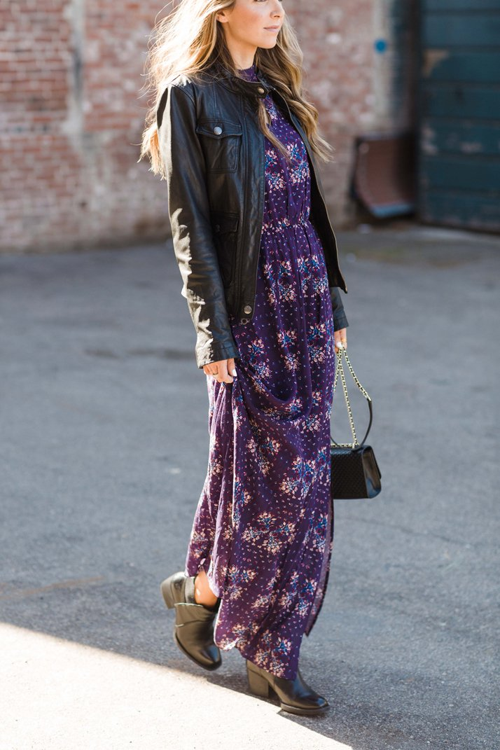 black leather jacket and a maxi dress