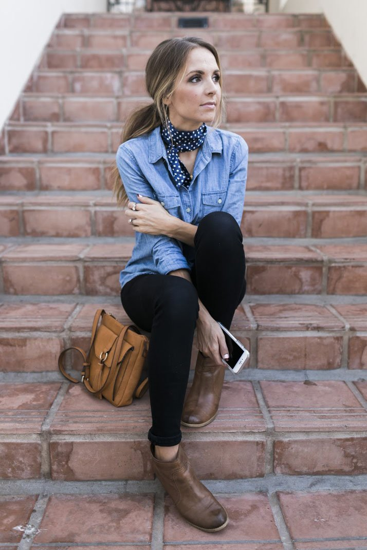 A neck scarf is a fun accessory to add to a basic fall outfit