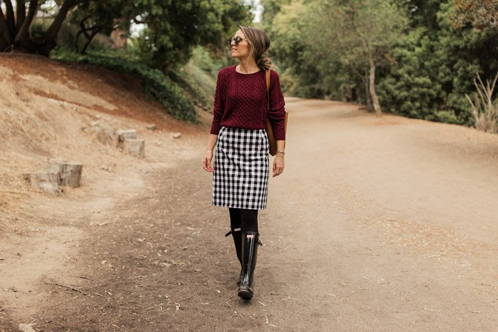 plaid and hunter boots