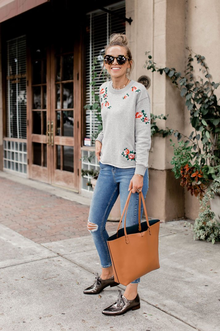 embroidered sweatshirt and metallic oxfords