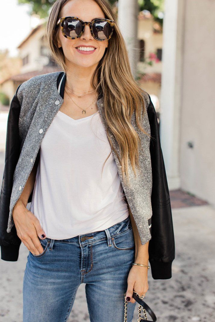 an easy casual look for fall with a varsity jacket