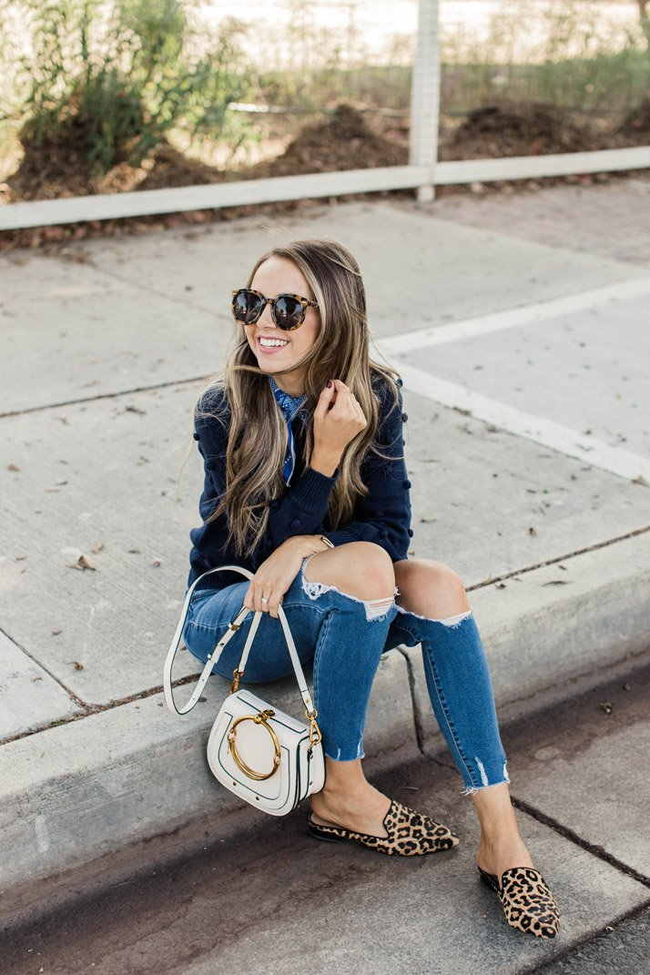jeans and leopard mules