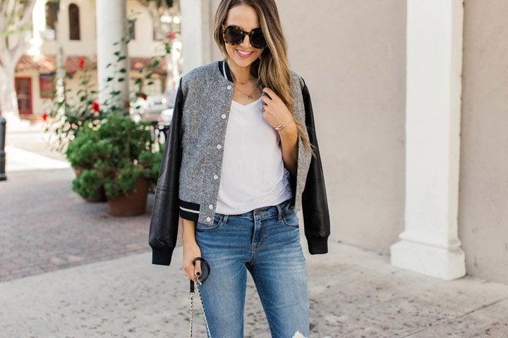 Black and gray varsity jacket