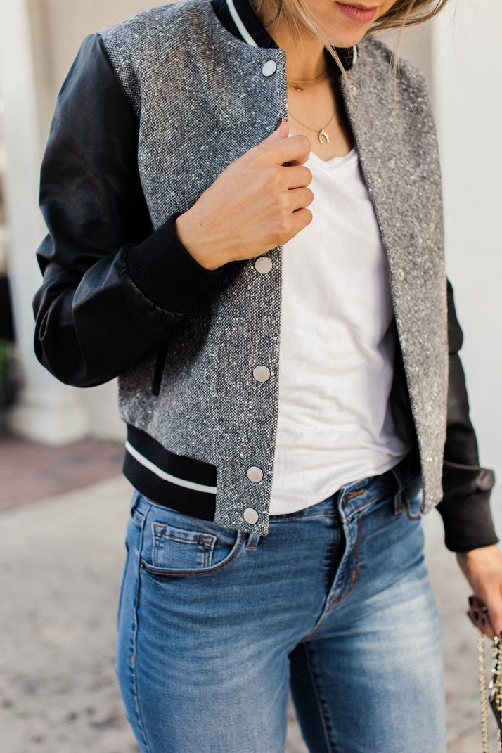 faux tweed and leather jacket
