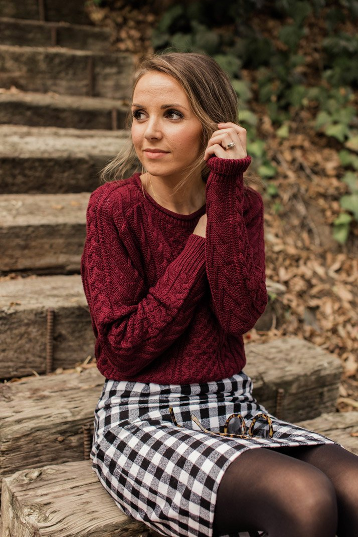 cozy plaid and cable knit