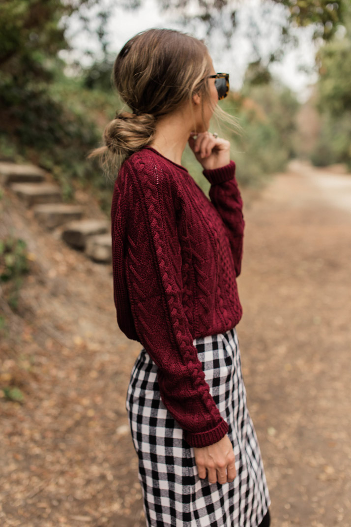 cozy cable knit and a messy bun