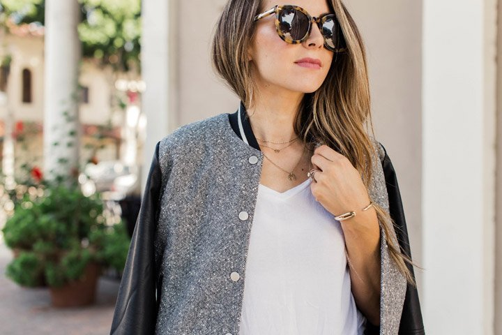 white t-shirt and a fun casual jacket