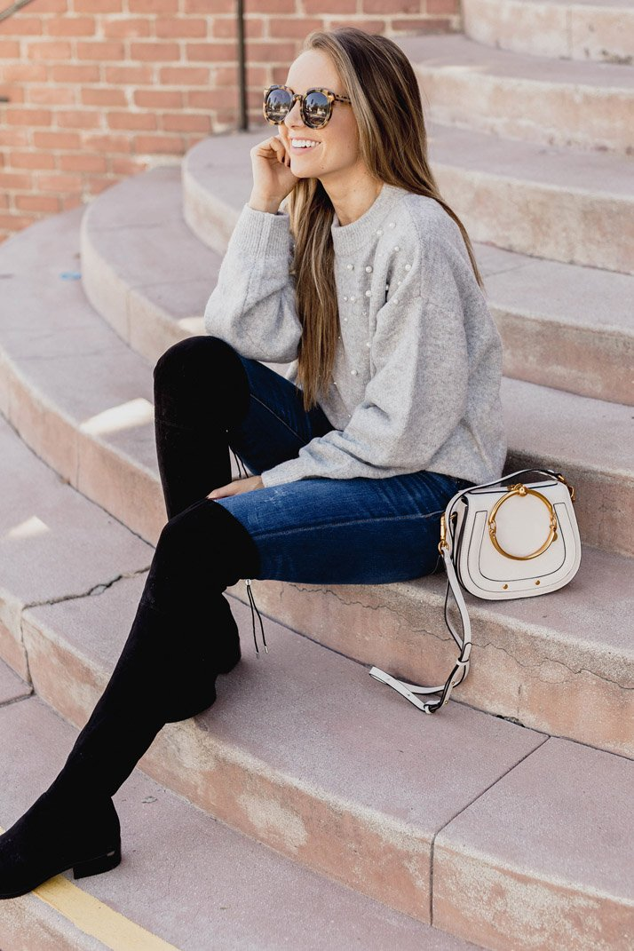 an easy fall look: gray sweater and black OTK boots