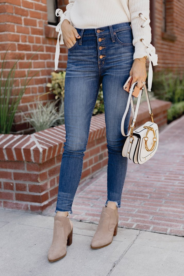 how to wear heeled ankle boots with jeans