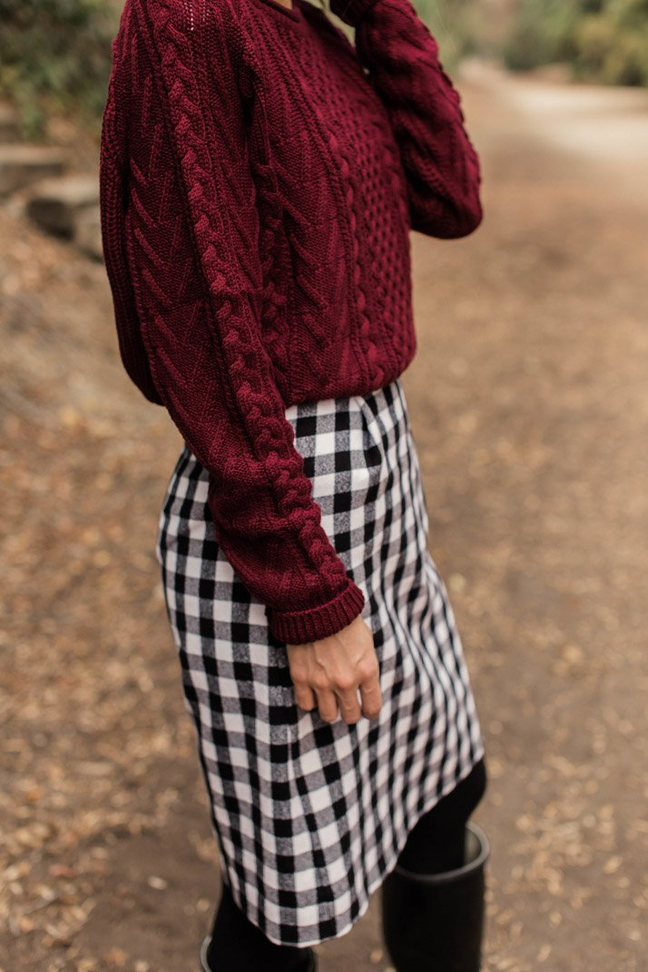 black and white and burgundy
