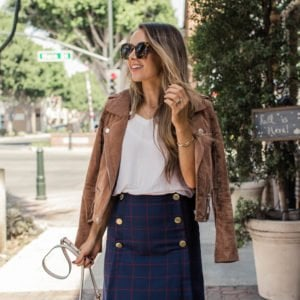 simple DIY button front skirt for fall