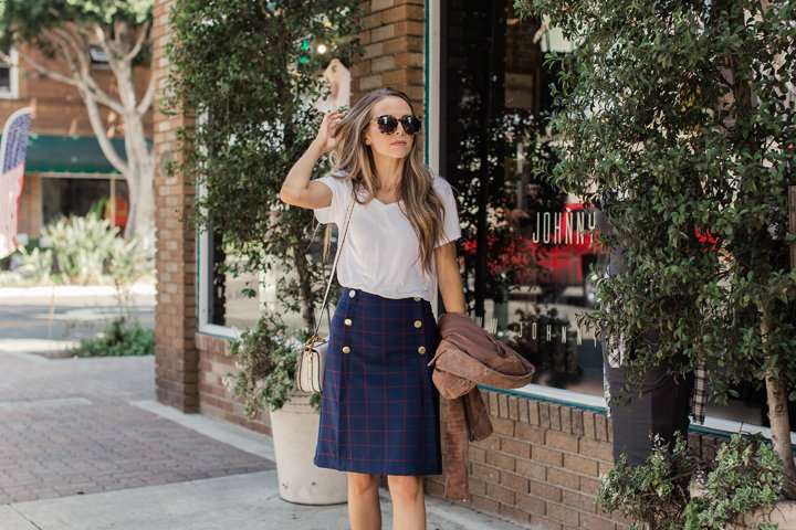 red and navy plaid skirt