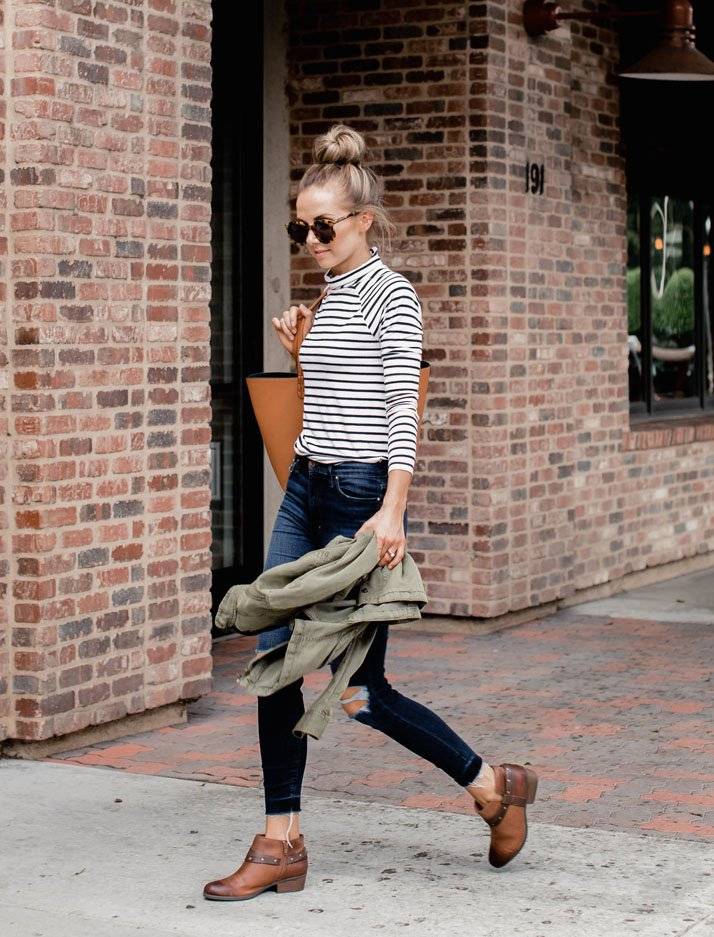 stripes and ankle boots